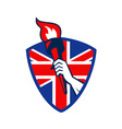 Hand Holding Flaming Torch British Flag vector image vector image