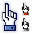 hand with warning forefinger symbols vector image vector image