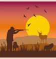 hunting sunset silhouettes vector image