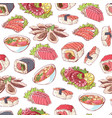 japanese cuisine dishes on white background vector image vector image