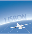 lisbon skyline flight destination vector image vector image