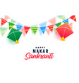 makar sankranti celebration with colorful kites vector image vector image