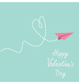 Origami paper plane Dash heart Valentines day vector image vector image