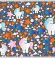 pattern with cartoon unicorn clouds and stars vector image vector image