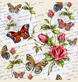 pattern with flowers and butterflies seamless vector image vector image