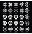 Pixelated snowflakes Christmas white icons on bla vector image vector image