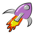 purple spaceship on white background vector image
