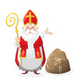 saint nicholas cartoon character with gift bag vector image