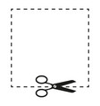scissors and dashed line sign vector image vector image