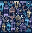 seamless pattern of ramadan kareem lanterns happy vector image vector image