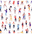 seamless pattern with tiny people dancing on dance vector image vector image