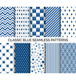set classic blue seamless pattern vector image