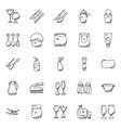set kitchen utensils doodles vector image vector image
