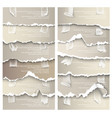 set torn paper with adhesive tape vector image