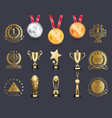silver and gold medals set vector image vector image