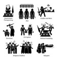 social issues world problems pictograph icons vector image vector image