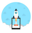 startup business with rocket icon symbol vector image