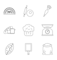 Sweet pastries icons set outline style vector image vector image