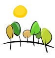 Trees on the hill at sunny day vector image vector image