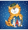 Winter Cat with City Inside vector image vector image