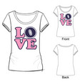 word love for t shirt vector image vector image
