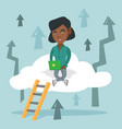 young business woman sitting on cloud with laptop vector image