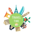 Travel Time Logo With Famous Buildings vector image