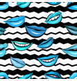 seamless pattern with beautiful blue colors lips vector image