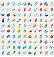 100 data icons set isometric 3d style vector image vector image