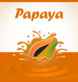a splash of juice from a falling papaya and drops vector image vector image