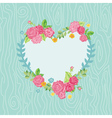 Beautiful Card with Floral Heart Wreath vector image