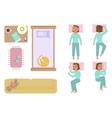 Bedroom and sleeping woman vector image