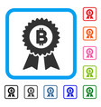 bitcoin seal with ribbons framed icon vector image vector image
