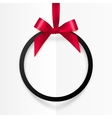 Black holiday round frame with red bow and silky vector image vector image