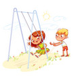 boy shakes the girl on a swing at the playground vector image vector image