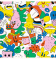 bright themed seamless pattern hilarious vector image