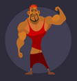 cartoon male athlete shows his muscle mass on vector image