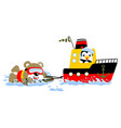 cartoon of surfing attraction with a boat with vector image vector image