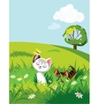 Cats in grass vector image vector image