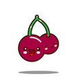 cherry cartoon character icon kawaii flat design vector image vector image