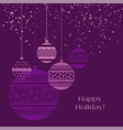 christmas bauble decoration in violet color vector image vector image