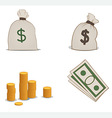 coins moneybags and greenbacks vector image vector image