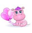 cute cartoon hippo with beautiful eyes vector image vector image