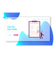 dentistry implant installation landing page vector image vector image