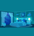 female bedroom at night flat luxury estate vector image vector image