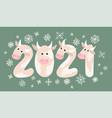 figures 2021 in form cows bulls oxen vector image vector image