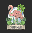 flamingo bird pink with coconut tree summer vector image vector image