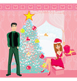 girl surprising a boy with a gift in Christmas vector image vector image