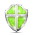 Glossy Magic Green Shield Icon vector image vector image