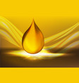 golden oil drops on yellow background with vector image